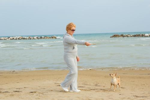 Frau mit Hund der gerne im intimbereich schnüffelt