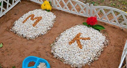 Tierfriedhöfe geschmückte Gräber