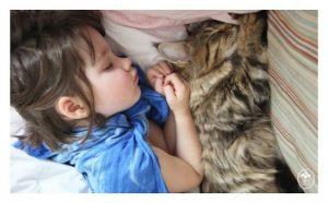 autistisches Mädchen mit Katze