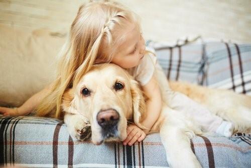 Die Angst bei Hunden - Kind umarmt Hund