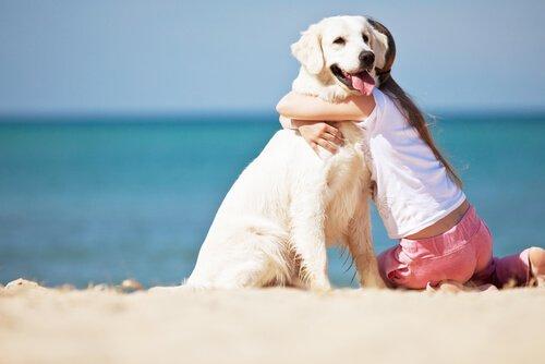 Ein Mädchen ist glücklich mit ihrem Hund