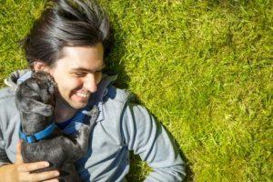 Hund fühlt sich glücklich mit Herrchen