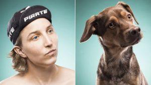 Frau und Hund sind sich ähnlich