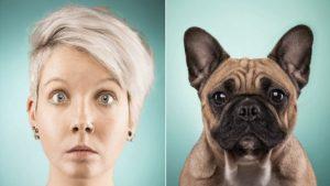 Frau und Hund schauen sich ähnlich