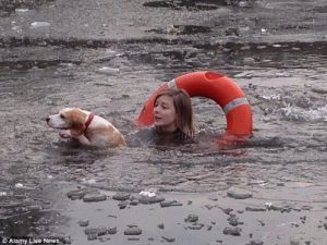 Junge Frau springt in den eisigen Teich, um Beagle Hündin zu retten.