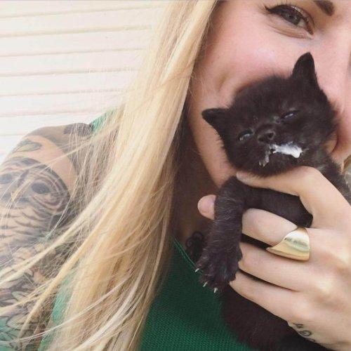 Kitten Lady und ein Kätzchen.