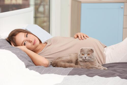 Schwangerschaft-und-Katzen - Frau mit Katze