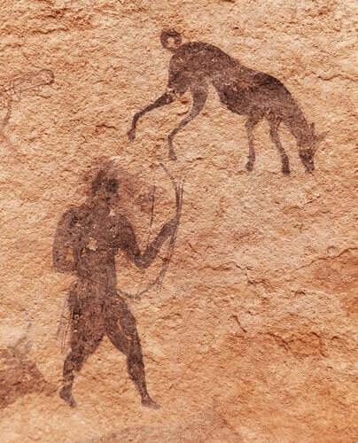 Freundschaft zwischen Hund und Mensch in der Wandmalerei der Jungsteinzeit festgehalten